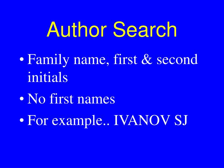 Author Search