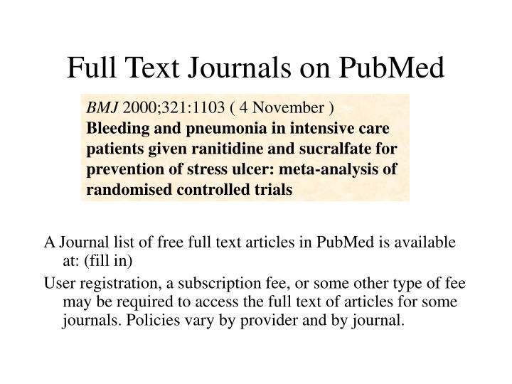 Full Text Journals on PubMed