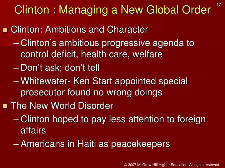 Clinton : Managing a New Global Order