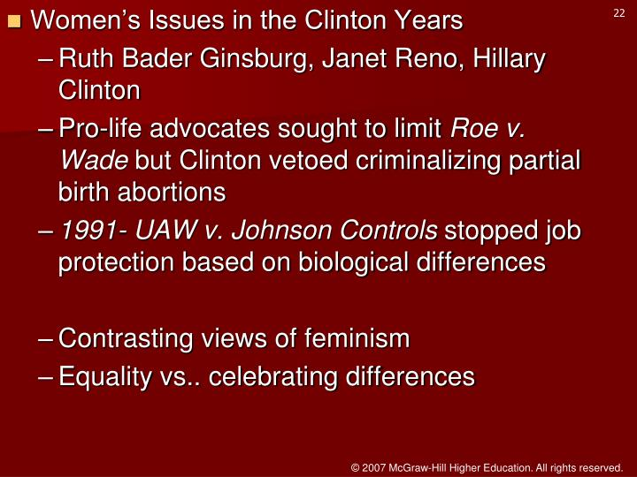 Women's Issues in the Clinton Years