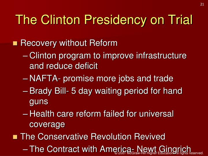 The Clinton Presidency on Trial