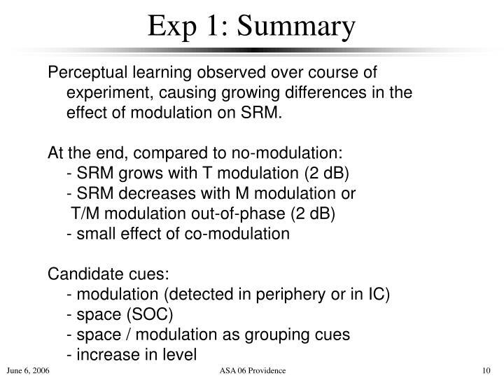 Exp 1: Summary