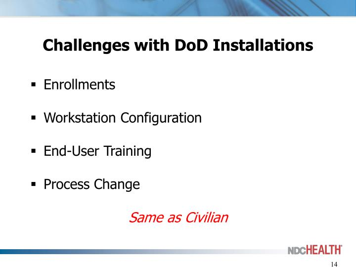 Challenges with DoD Installations
