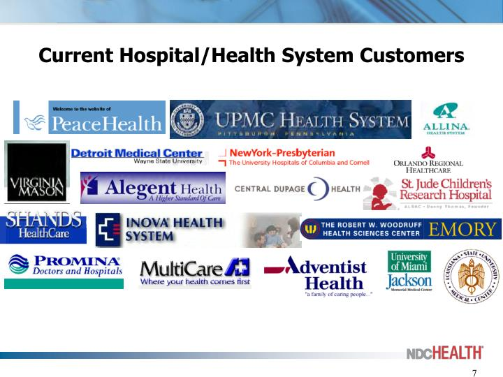 Current Hospital/Health System Customers
