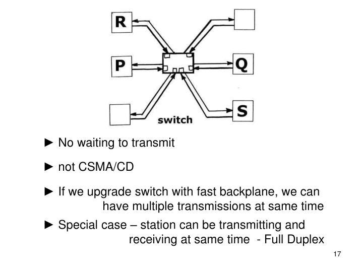 ► No waiting to transmit