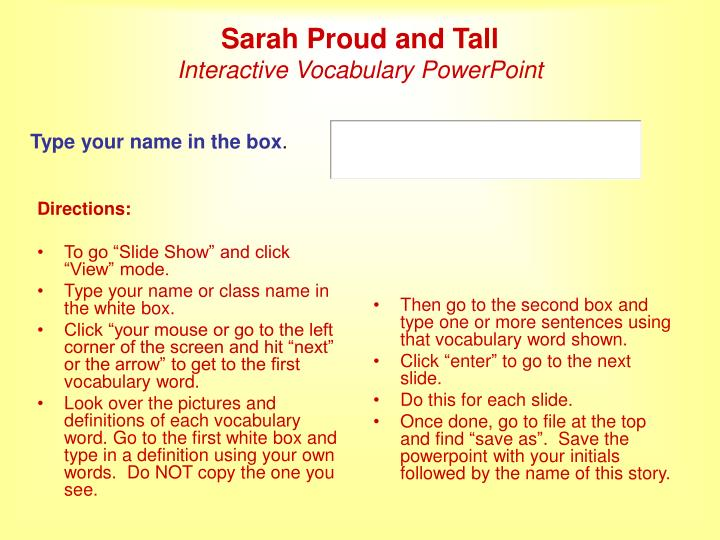 Sarah proud and tall interactive vocabulary powerpoint
