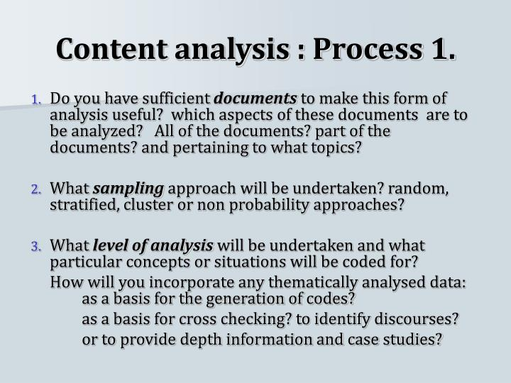 Content analysis : Process 1.