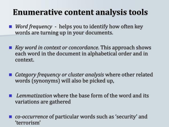 Enumerative content analysis tools