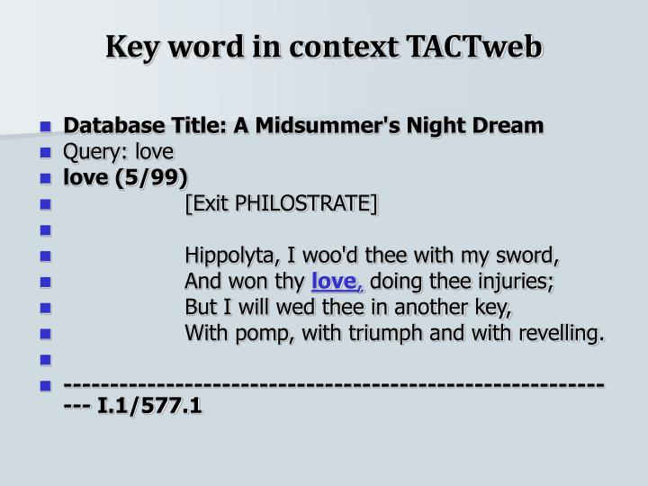 Key word in context TACTweb