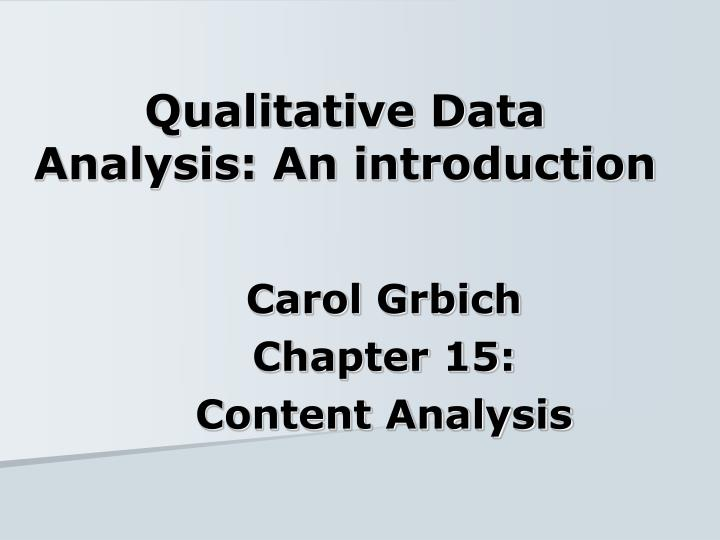 Qualitative data analysis an introduction