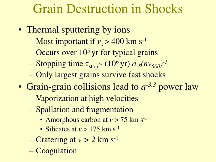 Grain Destruction in Shocks