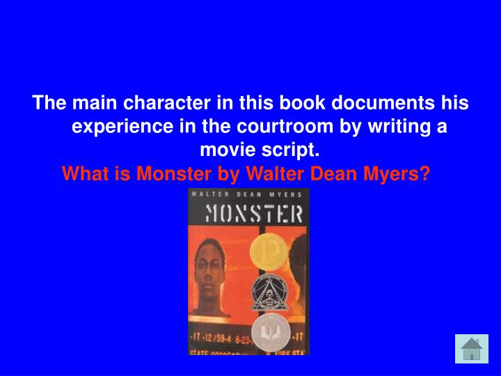 The main character in this book documents his experience in the courtroom by writing a movie script.