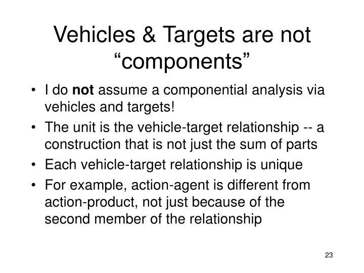 "Vehicles & Targets are not ""components"""