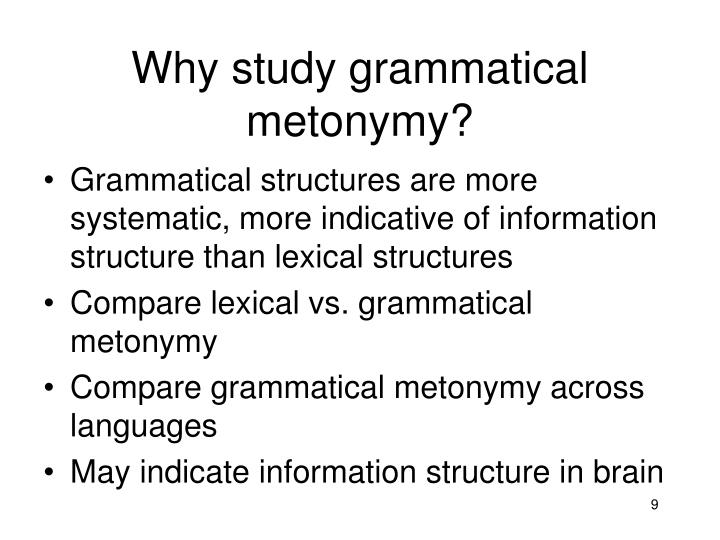 Why study grammatical metonymy?