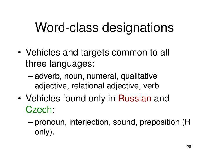 Word-class designations