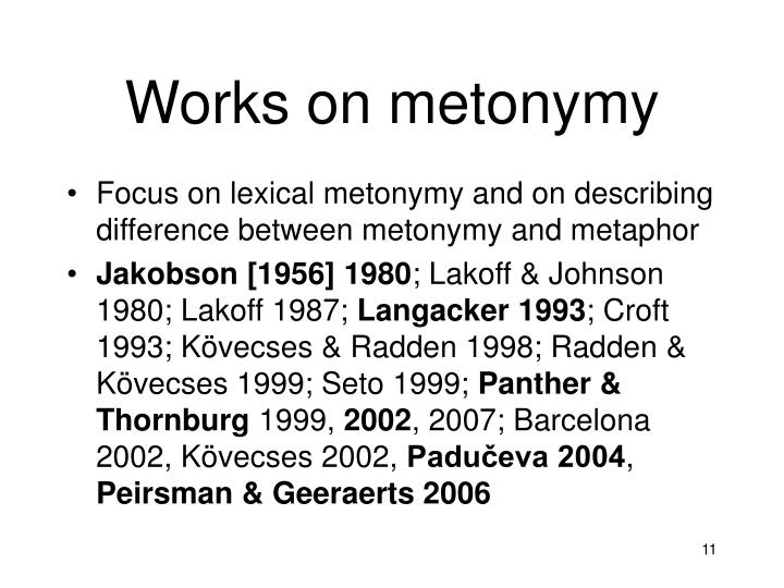 Works on metonymy
