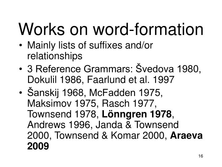 Works on word-formation