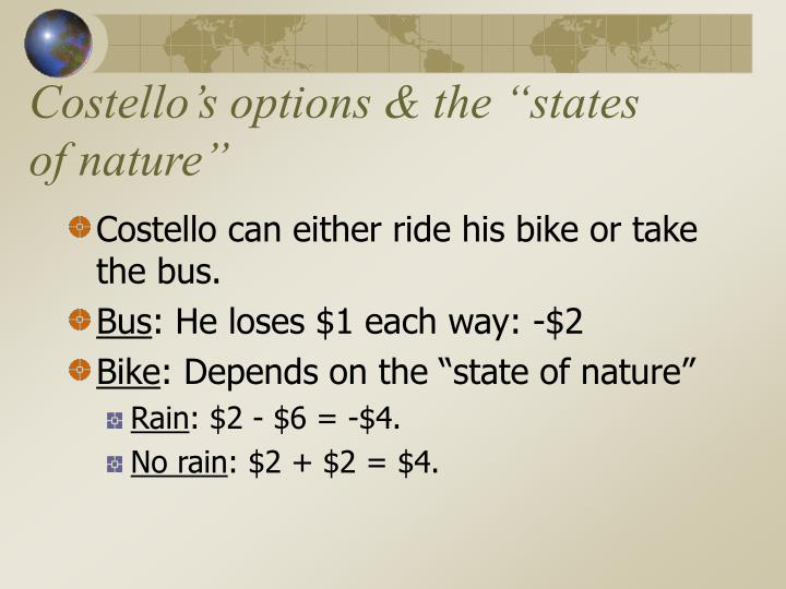 Costello s options the states of nature