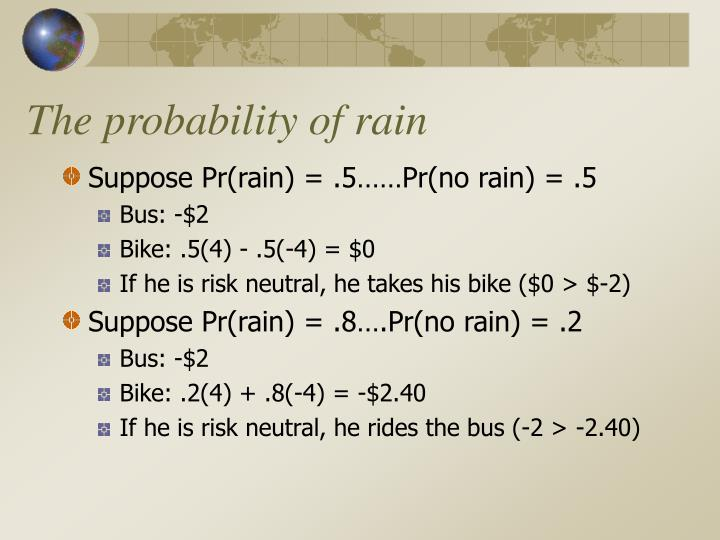 The probability of rain