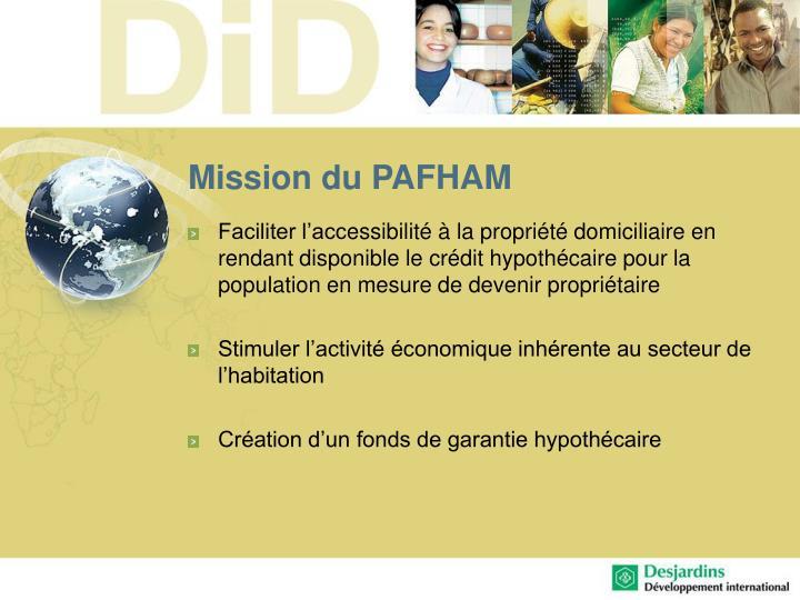 Mission du PAFHAM