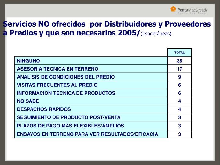 Servicios NO ofrecidos  por Distribuidores y Proveedores a Predios y que son necesarios 2005/