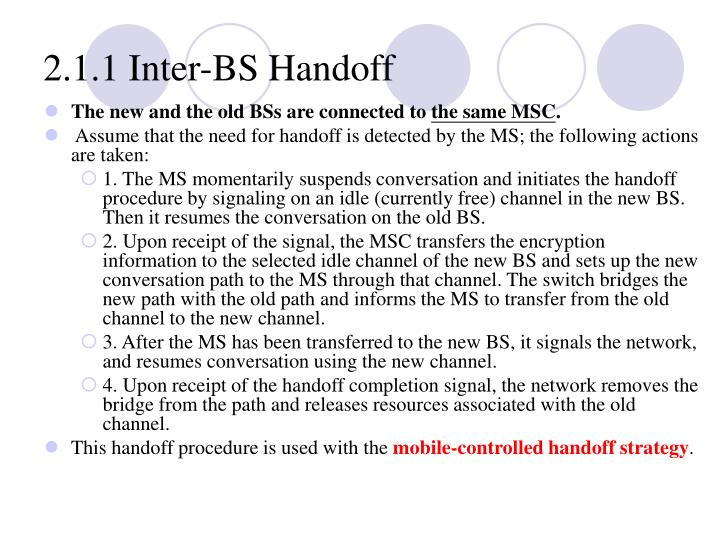 2.1.1 Inter‑BS Handoff