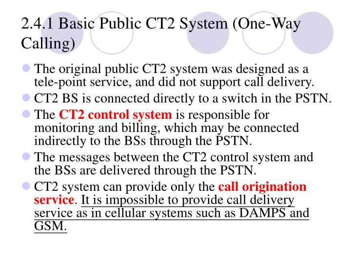 2.4.1 Basic Public CT2 System (One‑Way Calling)