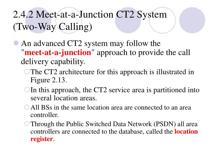 2.4.2 Meet‑at‑a‑Junction CT2 System (Two‑Way Calling)