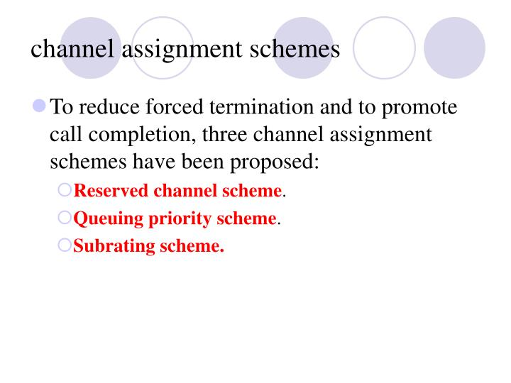 channel assignment schemes