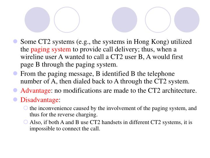 Some CT2 systems (e.g., the systems in Hong Kong) utilized the