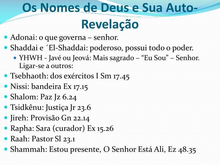 Os Nomes de Deus e Sua Auto-Revelação
