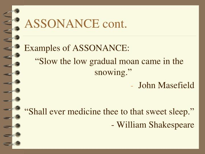 ASSONANCE cont.