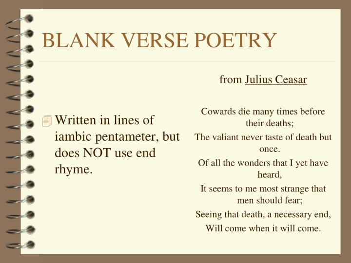 Written in lines of iambic pentameter, but does NOT use end rhyme.