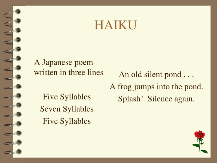 A Japanese poem written in three lines