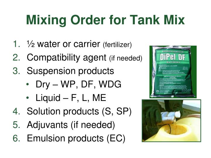 Mixing Order for Tank Mix