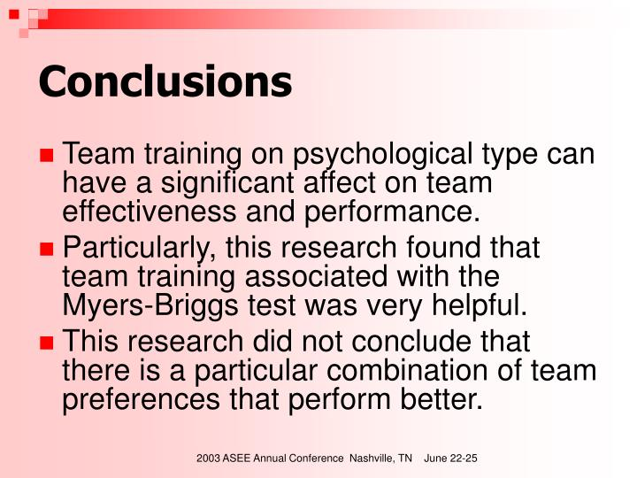 Team training on psychological type can have a significant affect on team effectiveness and performance.