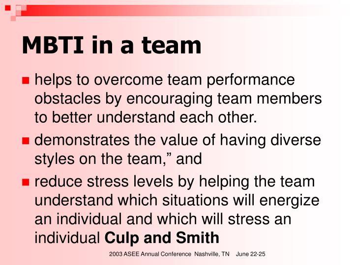 MBTI in a team