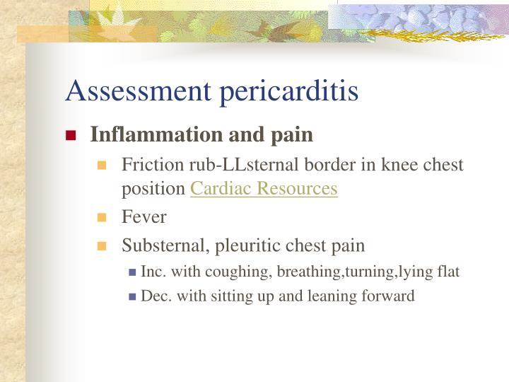 Assessment pericarditis