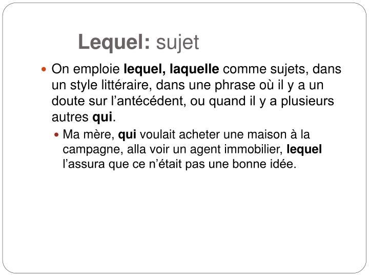 Lequel: