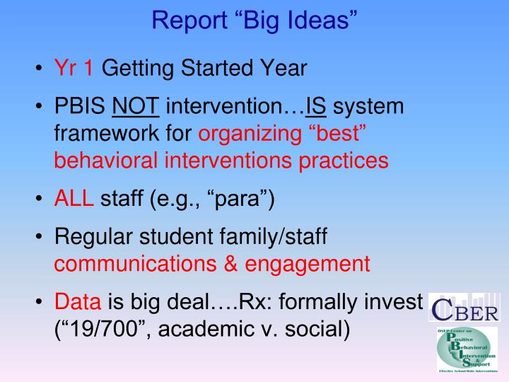 Report big ideas