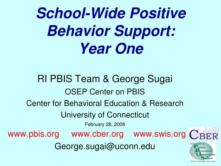 School wide positive behavior support year one