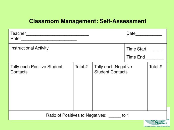 Classroom Management: Self-Assessment