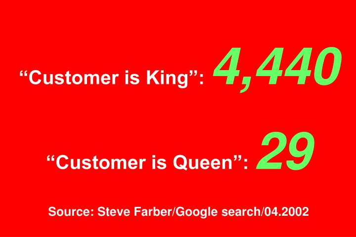 """Customer is King"":"
