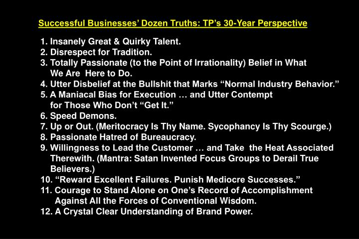 Successful Businesses' Dozen Truths: TP's 30-Year Perspective