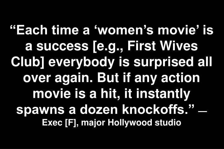 Each time a womens movie is a success [e.g., First Wives Club] everybody is surprised all over again. But if any action movie is a hit, it instantly spawns a dozen knockoffs.