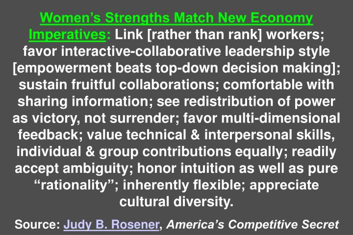 Womens Strengths Match New Economy Imperatives