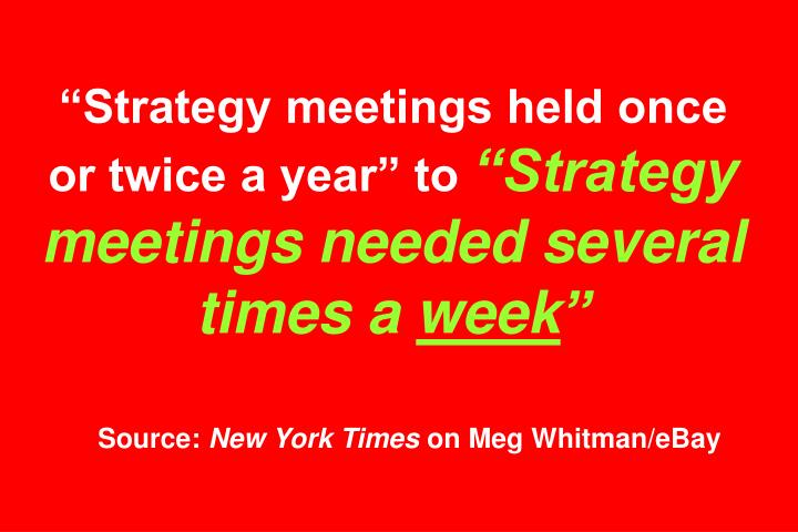 Strategy meetings held once or twice a year to