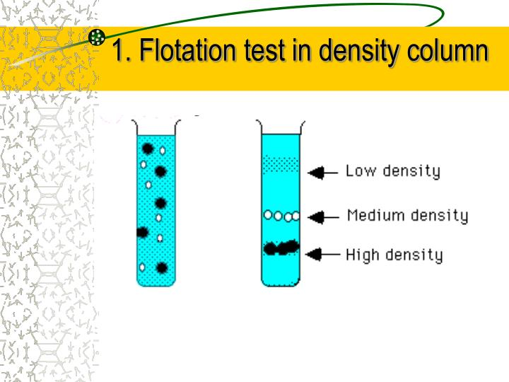 1. Flotation test in density column
