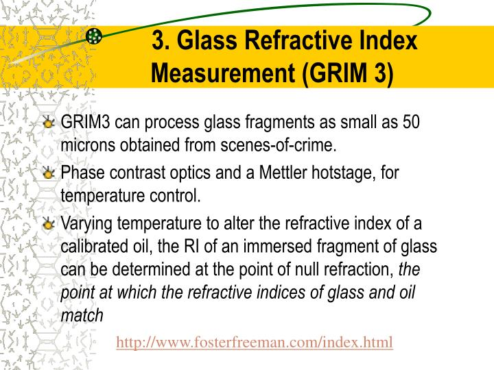 3. Glass Refractive Index Measurement (GRIM 3)
