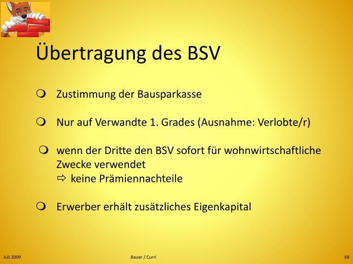 Übertragung des BSV